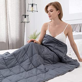Alomidds Weighted Blanket 15 lbs| 48''x72'', Twin Size, for 140-150lbs Individual, Heavy Blanket Premium Cotton Material with Glass Beads| Grey