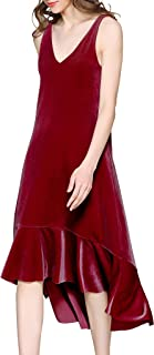 Spicy Sandia Long Velvet Dress for Women V-Neck Sleeveless Casual Dresses