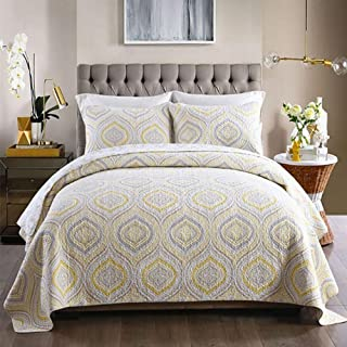 JANRON 100% Cotton Quilted Bedspread King Size 3 Piece Spring Summer Quilt Bedspreads Indian Retro Reversible Ethnic Bedding Set with 2 Pillowcase for Bedroom Guest Rooms - 230X250