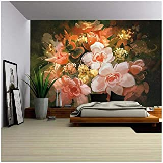 wall26 - Illustration - Beautiful Flowers,Color Blooming,Illustration,Digital Painting - Removable Wall Mural   Self-Adhesive Large Wallpaper - 66x96 inches