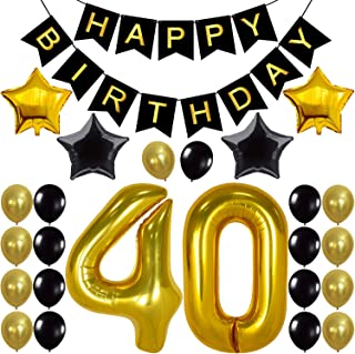 KATCHON 1 11 Decorations Happy Birthday Banner, 40th Balloons,Gold and Black, Number, Perfect 40 Years Old Par, M