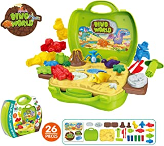 Jovatnana Dino World Modeling Clay Create with Clay Dinosaurs Kit Combines Art, Adventure, Science and Fun for The Perfect STEAM Experience Safe Non Toxic 26-Piece Set