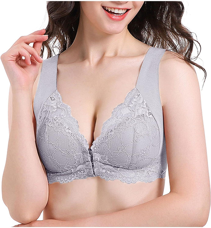 Women's Lace Bralette Minimizer Lace Bra Plus Size Full Coverage Underwire Lift Bra Front Buckle Push-Up Bra