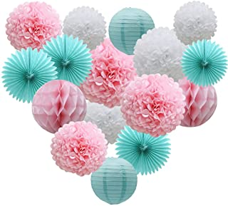 Teal Party Supplies for Bridal Baby Shower First Birthday Party Wedding Decorations (16pcs) Paper Honeycomb Ball Pom Poms Flowers Paper Lanterns Hanging Tissue Fan