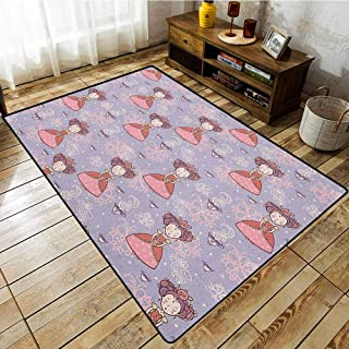 Outdoor Patio Rug,Tea Party,Cute Princess with Teacups Abstract Floral Background Gothic Design Print,Machine-Washable/Non-Slip Lilac Pink Coral
