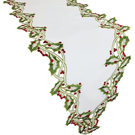 Amazon Com Xia Home Fashions Holiday Holly Embroidered Cutwork Christmas Table Runner 15 By 54 Inch White Home Kitchen