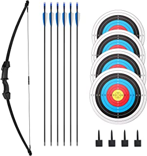 Archery Bow and Arrow Set Recurve Bow Outdoor Sports Game Hunting Toy Gift Bow Kit Set with 6 Arrows 4 Target Faces 4 Targ...