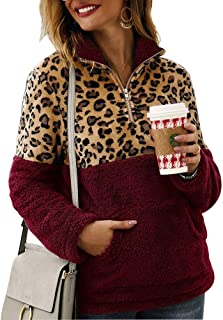 Women Leopard Fleece Sherpa Pullover Casual Loose Long Sleeve Zip Patchwork Oversize Sweatshirt with Pocket