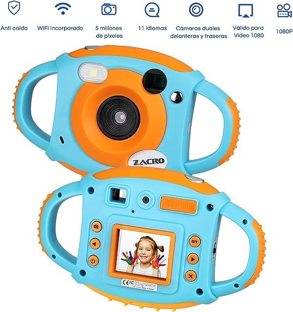 Zacro Cámara Niños Digital Pixel 5M1080PWifi Incorporado MultifuncionalRecargable1.8 PantallaCámara para Niños PortátilAnti-caída y Antideslizante