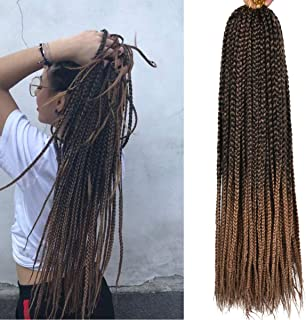 Alileader 6 Packs/Lot 22 Strands/Pack Ombre Box Braids Crochet Hair 30 Inch 1cm in Diameter 3X Synthetic Braiding Hair Extensions Crochet Braids Hair (Omber#27)