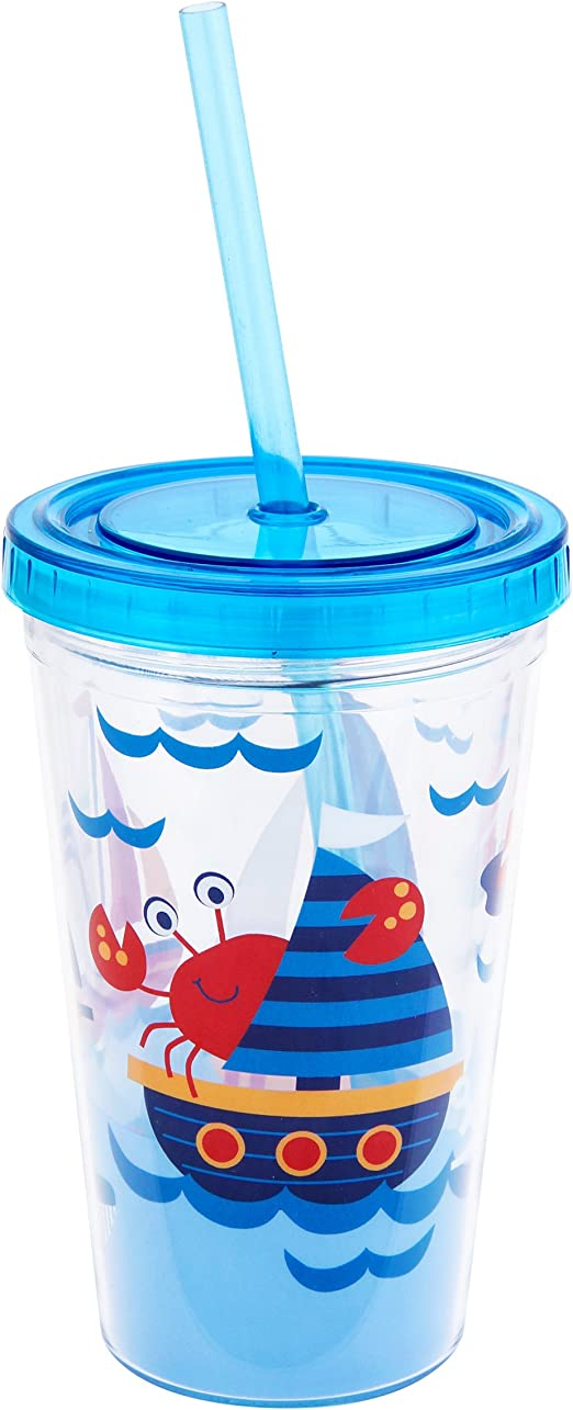 Stephen Joseph E7 Kid/'s Drinkware Tumbler with Straw Nautical SJ-1133-46