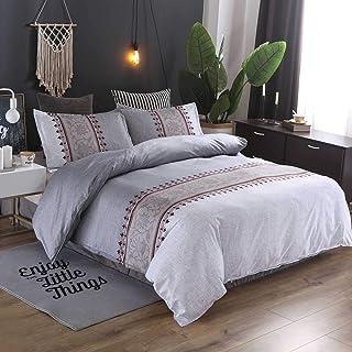 Tokstyle Parure de lit de luxe 3 pièces 200 x 200 cm microfibre 1 housse de couette avec fermeture éclair et 2 taies d'ore...