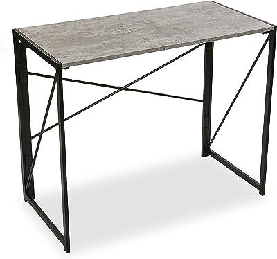 Versa Jack Bureau Informatique Poste de Travail Table d'étude pour Ordinateur, Pliable, Dimensions (H x l x L) 74 x 45 x 90 cm, Bois et métal, Couleur: Gris