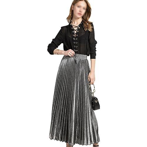 db66c531bb LA HAUTE Women Girls Metallic Pleated Skirt Summer Long Beach Skirt Luster  Satin Party Midi Skirt
