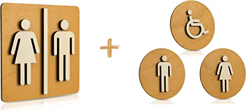 WC-schild hout toiletschild toilet deurschild dames heren hangers pictogram kleur notenhout licht Ø 12cm set 1