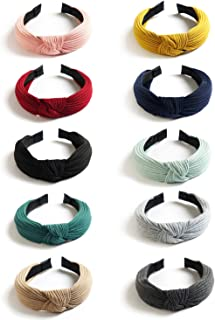 Kisslife 10 Pack Wide Headbands Knot Turban Headband Hair Band Elastic Plain Fashion Hair Accessories for Women and Girls, Children 10 Colors