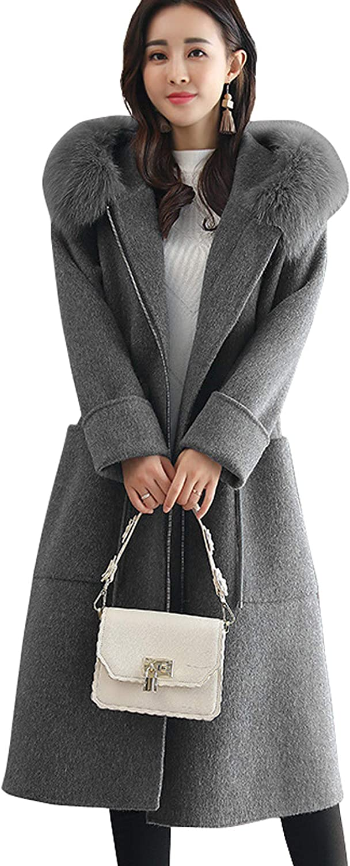 chouyatou Women's Fashion Side Split Faux Fur Hood Thicken Trench Coat Outerwear