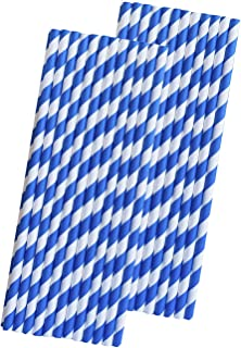 Stripe Paper Straws - Royal Blue and White - 7.75 Inches - 50 Pack