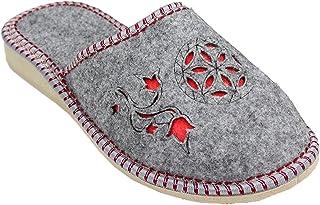 Filzpantoffel chaussons en feutre femme latschen schlappen gris feutre avec semelles en caoutchouc