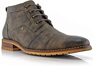 Blaine MFA806035 Mens Casual Brogue Mid-Top Lace-Up and Zipper Boots