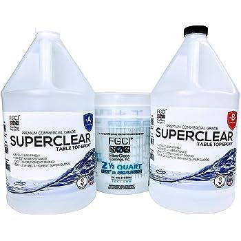 Super Clear Coat Epoxy Resin Kit 2 Gallon Ultra Clear Liquid Glass 2 Part Self Leveling