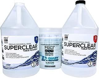 SUPER CLEAR Coat Epoxy Resin Kit, 2 Gallon, Ultra Clear Liquid Glass 2 Part Self Leveling Epoxy Resin, Epoxy Resin Table DIY, Floor Kit, Includes Epoxy Resin 1 Gallon & Hardener 1 GL & (3) 2.5 Qt Cups