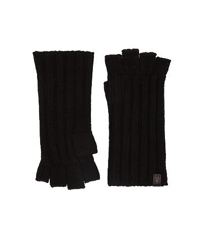 AllSaints Ribbed Cut Off Finger Gloves (Black) Extreme Cold Weather Gloves