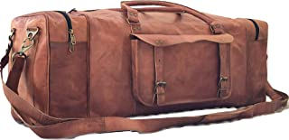 Sponsored Ad - Leather Duffel Bag Large 32 Inch Single Pocket Travel Gym Sports Weekender Overnight Duffle Bag For Men and...