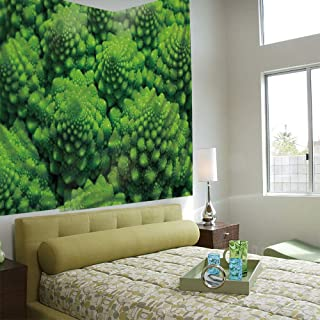 AngelSept Tapestry Wall Hanging 3D Printing Tree Tapestry Wall TapestryLiving Room Bedroom,Nature,Broccoli Kale Mother Earth Herbs Themed Fractal Background Foliage Modern Design,Lime Green