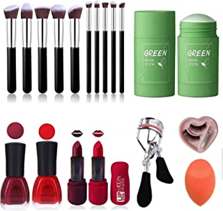 BTN Face makuep brush 10 pcs different size with 4 pcs Nail polish & Matte Lipistics red/mehroon each 2 pcs with green mas...