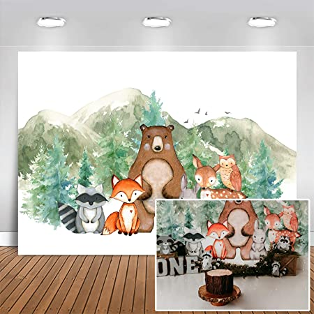 5x5FT Vinyl Photography Backdrop,Bear,Strong Wild Animal Forest Photo Background for Photo Booth Studio Props