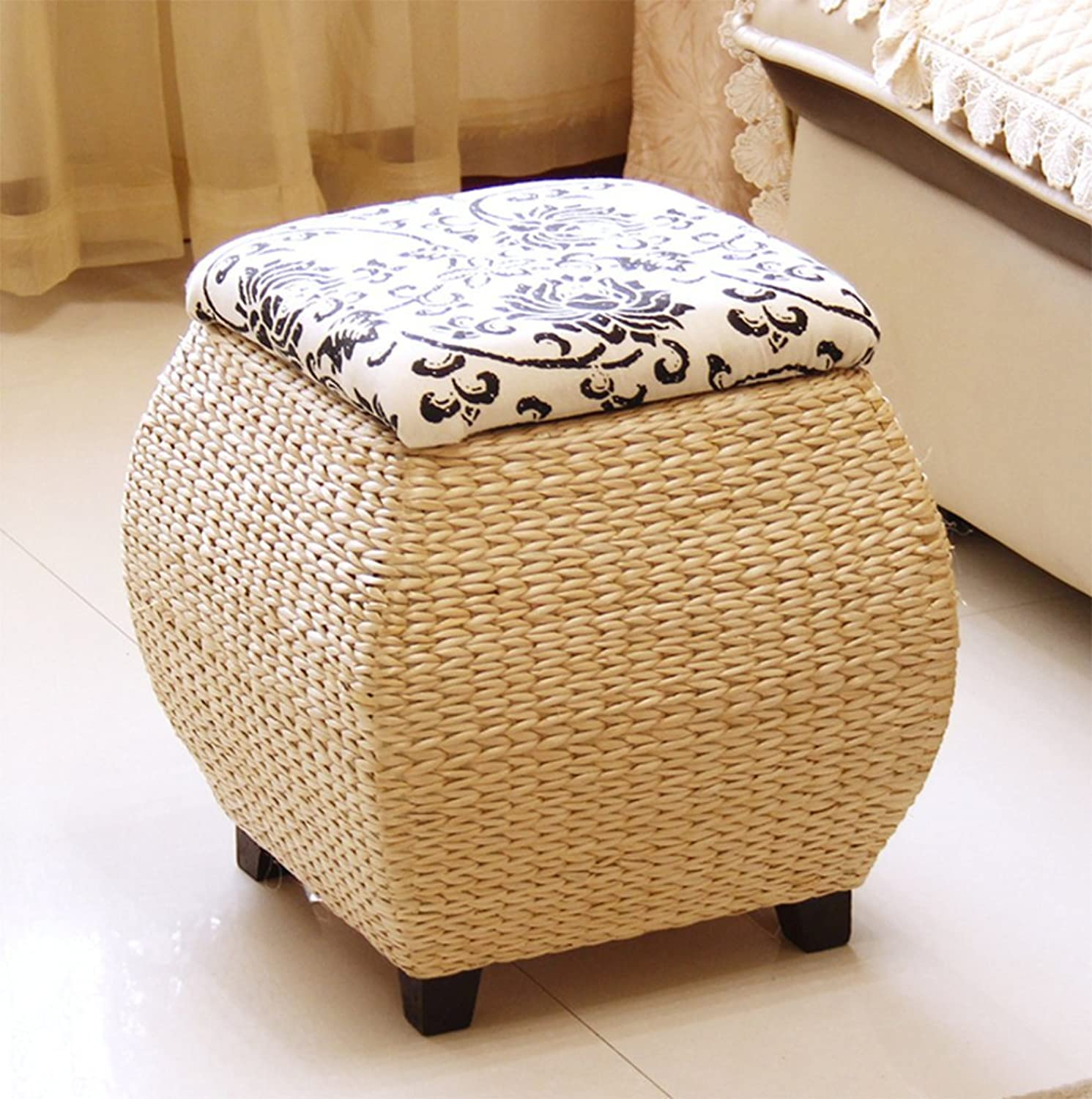 Handmade Rattan Storage Stool, Storage Container Bamboo Stool, Multi-Purpose shoes Stool,Black