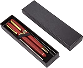 Pen Gift Set - Set of 2 Rosewood Luxury Ballpoint Pens for Personal, Executive Use, Red with Gold Accents