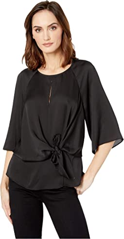 Bell Sleeve Tie Front Keyhole Hammer Satin Blouse