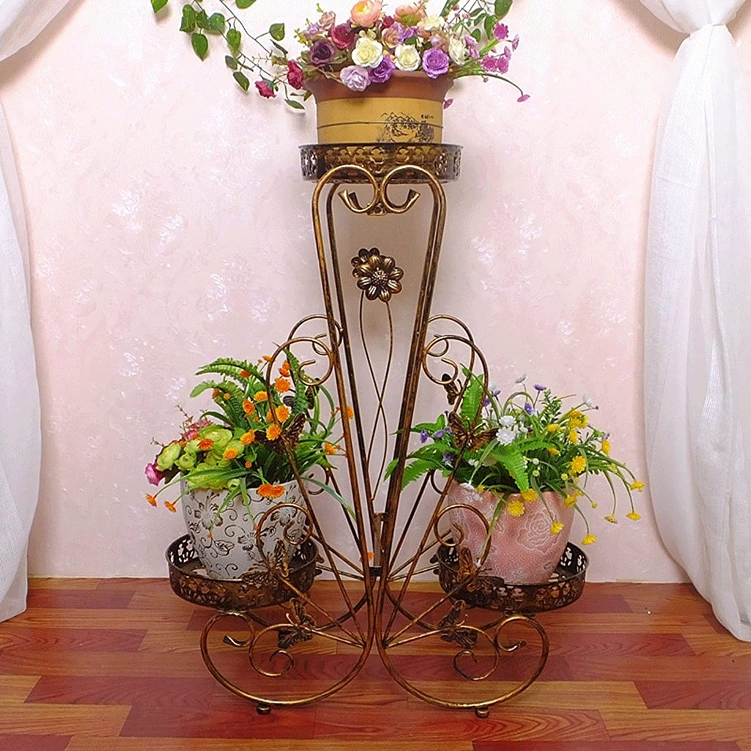 Garden & Home Iron Art Plant Stand Multilayer Indoor Living Room Balcony Corner Floor-Standing Flower Basket Flower Stand 4KG(9LBS) (color   White)