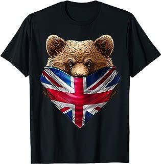 England UK Flag California Bear Wearing British Flag Bandana T-Shirt