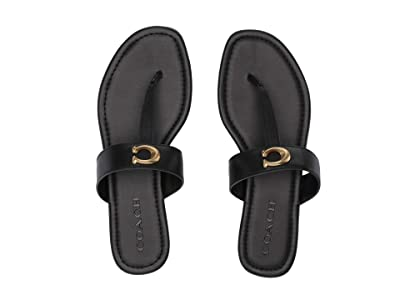 COACH Jessie Thong Sandal with Signature Buckle (Black Leather) Women