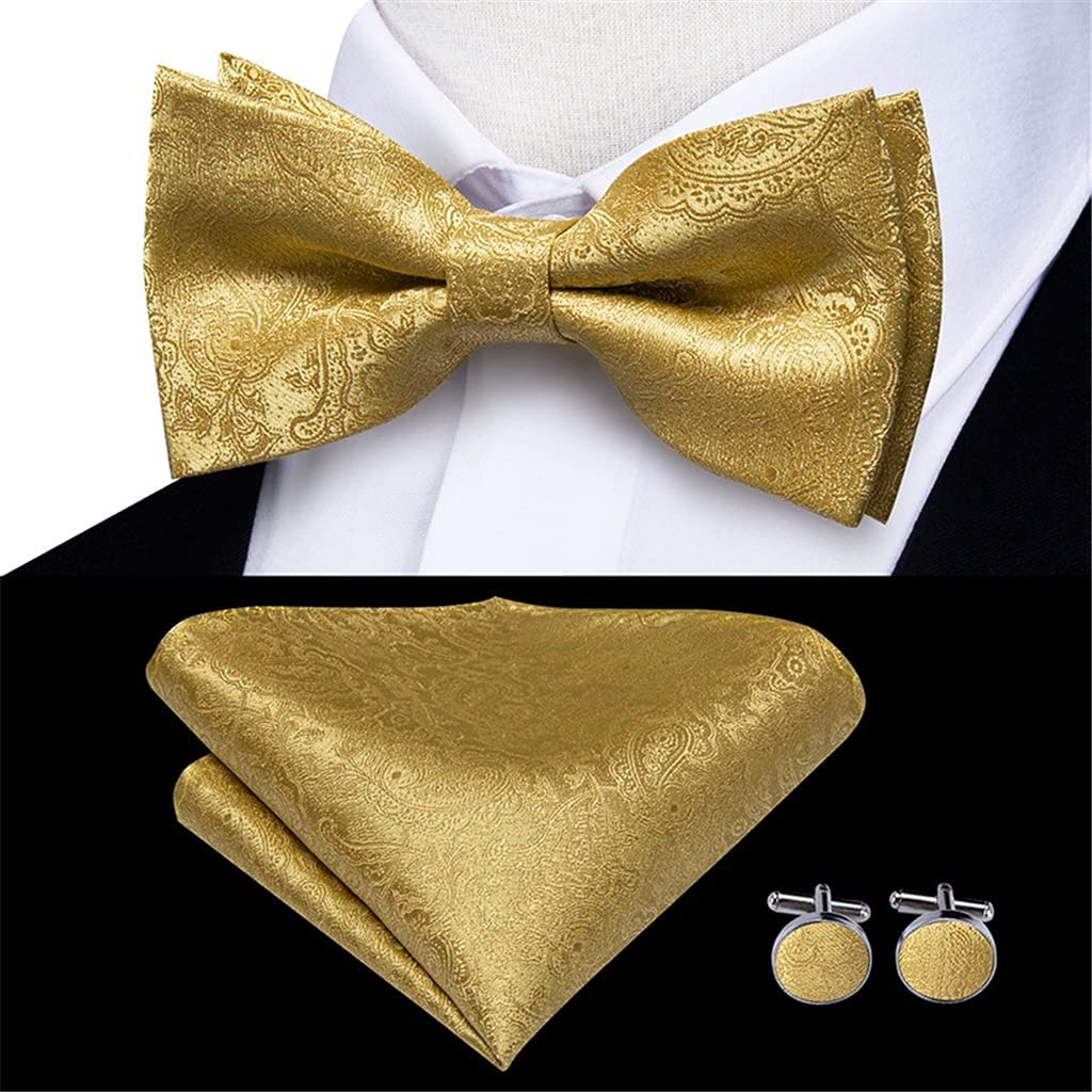 ZYKBB Men's Suspender Set Leather 6 Clips Braces Vintage Fashion Gold Floral Wedding Suspenders and Bowtie Set (Color : A, Size : Adjustable)