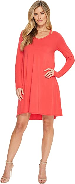 Cotton Modal Spandex Jersey Split Shoulder High-Low Dress