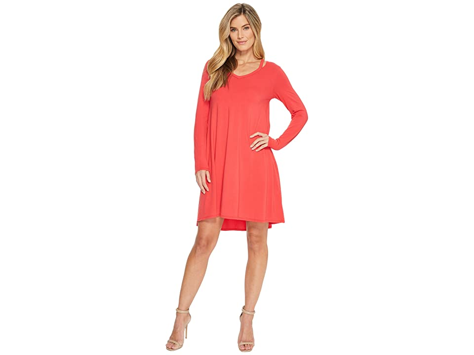 Mod-o-doc Cotton Modal Spandex Jersey Split Shoulder High-Low Dress (Rose Red) Women