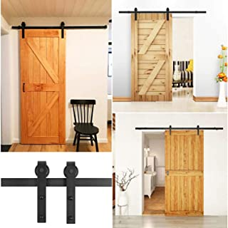 FIXKIT - Kit di guide per porta scorrevole, 200 cm, kit industriale per porta sospesa in legno, sistema di porta con ruote...