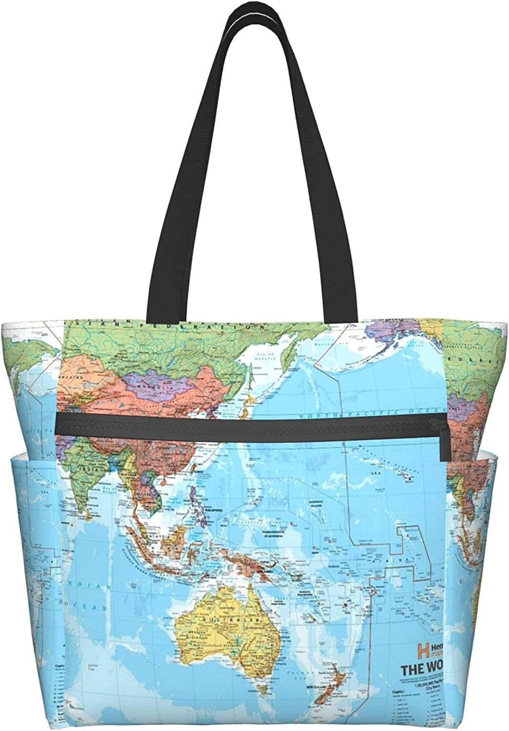 Tote Travel Bag For Women World Many Topics on TV Recommended With Pock Shoulder Maps