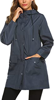 SUNAELIA Rain Jacket Women Waterproof Lightweight Hooded Raincoat Active Outdoor Windbreaker Trench Coat S-XXL