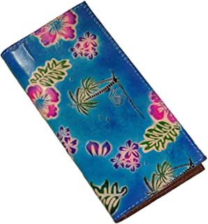 BPLeathercraft Genuine Leather Checkbook Cover, Hawaii Scenery Pattern Embossed, More Color