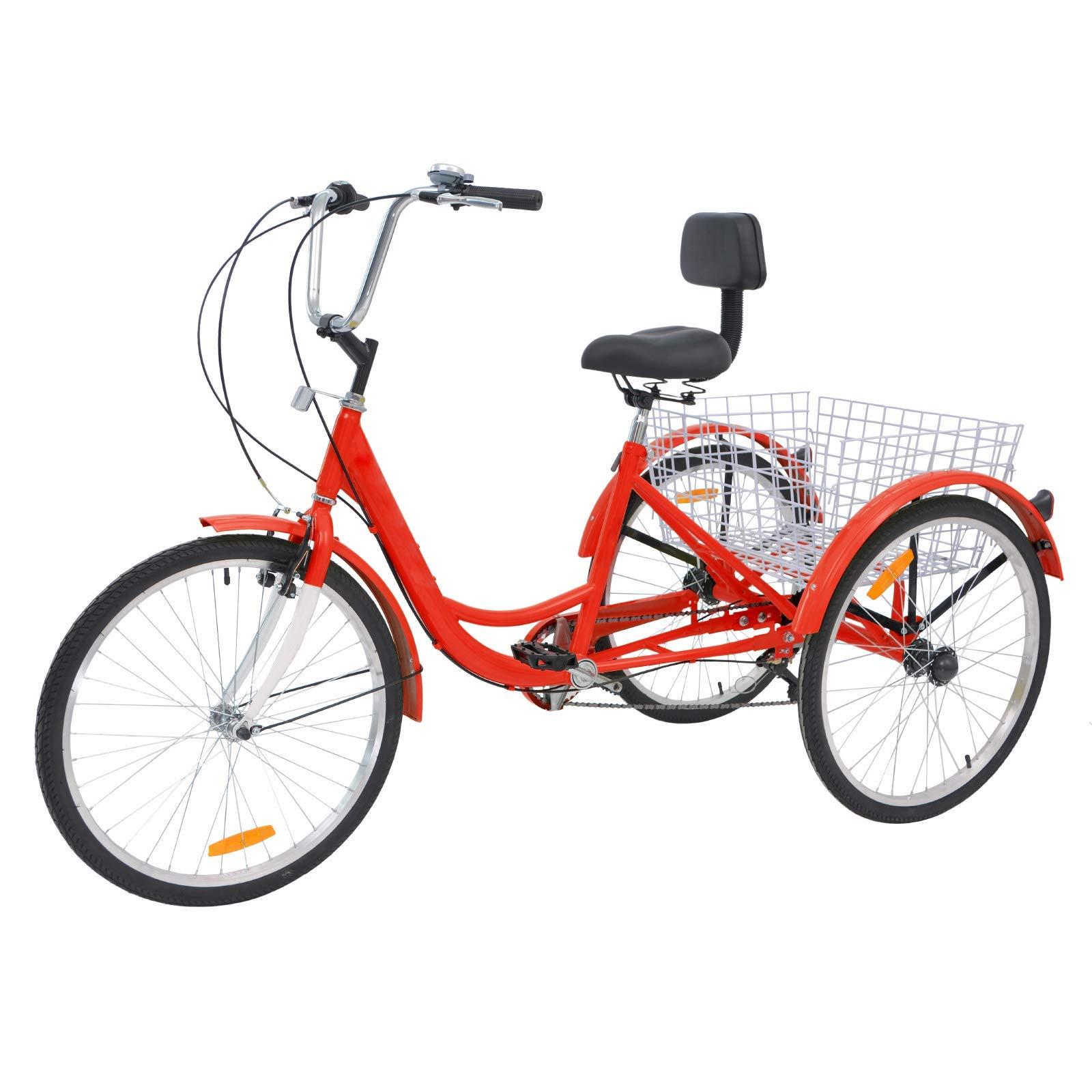 H&ZT Triciclo de 3 Ruedas para Adultos con Cesta Grande y Herramientas de Mantenimiento, Rueda de 24 Pulgadas para Bicicleta de Triciclo, Bicicleta de Crucero para Hombre y Mujer: Amazon.es: Deportes y