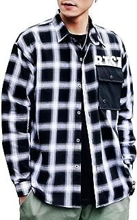 カジュアルシャツ メンズ シャツ ボタンダウンシャツ 長袖シャツ ビジネス チェック柄 通勤 通学 スリム メンズファッション 2019 春夏秋冬