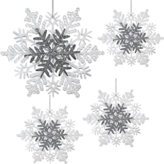 BANBERRY DESIGNS Snowflake Christmas Ornaments - Pack of 4 White and Silver Glittered Snowflake Ornaments – Approx Size 8.5 Inch Diameter - White Christmas Snow Flakes Décor