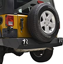 EAG Rear Bumper Full Width with D-rings Black Textured for 07-18 Jeep Wrangler JK Rock Crawler
