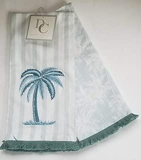 Deborah Connolly Palm Trees Kitchen Tea Towels Set of 2 Tropical Stripe Blue Green Stripe