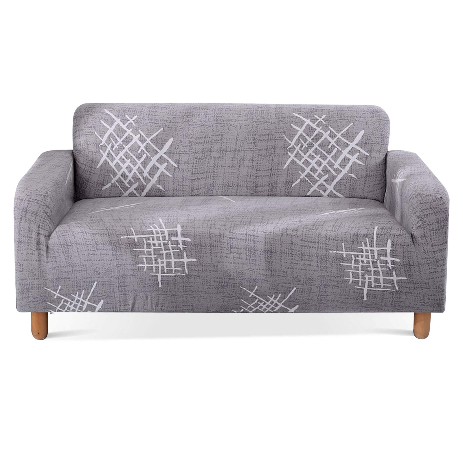 Lamberia Printed Sofa Cover Stretch Couch Cover Sofa Slipcovers for Couches and Loveseats with Two Pillow Cases (Gray Mark...